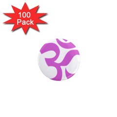 Hindu Om Symbol (Bright Purple) 1  Mini Magnets (100 pack)