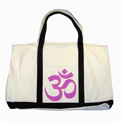 Hindu Om Symbol (Bright Purple) Two Tone Tote Bag