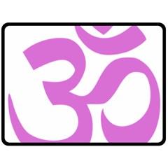 Hindu Om Symbol (Bright Purple) Fleece Blanket (Large)