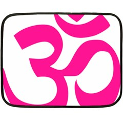 Hindu Om Symbol (Deep Pink) Fleece Blanket (Mini)