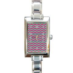 Retro Pattern Zig Zag Rectangle Italian Charm Watch
