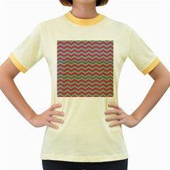 Retro Pattern Zig Zag Women s Fitted Ringer T-Shirts