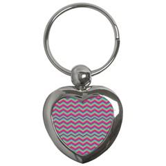 Retro Pattern Zig Zag Key Chains (heart)