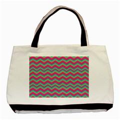 Retro Pattern Zig Zag Basic Tote Bag