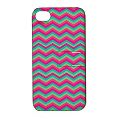 Retro Pattern Zig Zag Apple Iphone 4/4s Hardshell Case With Stand