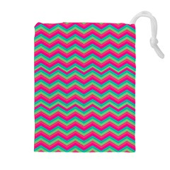 Retro Pattern Zig Zag Drawstring Pouches (Extra Large)