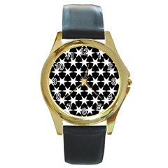Star Egypt Pattern Round Gold Metal Watch