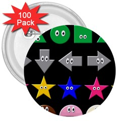 Cute Symbol 3  Buttons (100 pack)