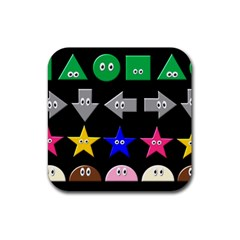 Cute Symbol Rubber Square Coaster (4 Pack)