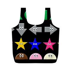 Cute Symbol Full Print Recycle Bags (m)