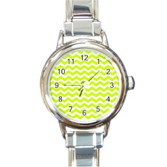 Chevron Background Patterns Round Italian Charm Watch