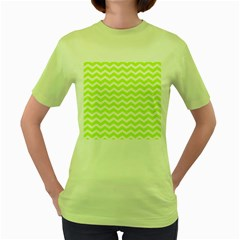 Chevron Background Patterns Women s Green T Shirt