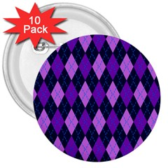 Static Argyle Pattern Blue Purple 3  Buttons (10 Pack)