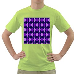 Static Argyle Pattern Blue Purple Green T Shirt