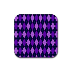 Static Argyle Pattern Blue Purple Rubber Square Coaster (4 Pack)