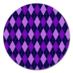 Static Argyle Pattern Blue Purple Magnet 5  (round)