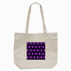 Static Argyle Pattern Blue Purple Tote Bag (cream)