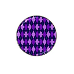Static Argyle Pattern Blue Purple Hat Clip Ball Marker (4 Pack)