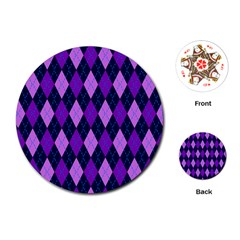 Static Argyle Pattern Blue Purple Playing Cards (round)