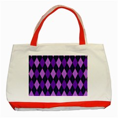 Static Argyle Pattern Blue Purple Classic Tote Bag (red)