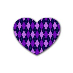Static Argyle Pattern Blue Purple Heart Coaster (4 pack)