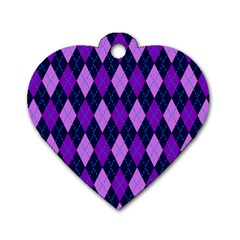 Static Argyle Pattern Blue Purple Dog Tag Heart (Two Sides)