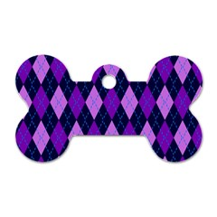 Static Argyle Pattern Blue Purple Dog Tag Bone (two Sides)