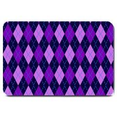 Static Argyle Pattern Blue Purple Large Doormat