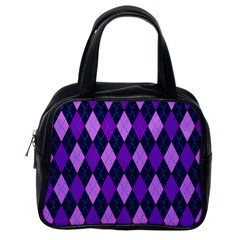 Static Argyle Pattern Blue Purple Classic Handbags (One Side)