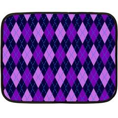 Static Argyle Pattern Blue Purple Double Sided Fleece Blanket (mini)