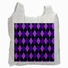 Static Argyle Pattern Blue Purple Recycle Bag (one Side)