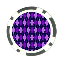 Static Argyle Pattern Blue Purple Poker Chip Card Guard (10 pack)