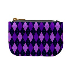 Static Argyle Pattern Blue Purple Mini Coin Purses