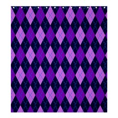 Static Argyle Pattern Blue Purple Shower Curtain 66  X 72  (large)