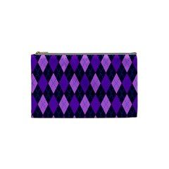 Static Argyle Pattern Blue Purple Cosmetic Bag (Small)