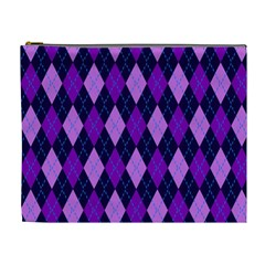 Static Argyle Pattern Blue Purple Cosmetic Bag (XL)