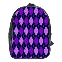 Static Argyle Pattern Blue Purple School Bags(Large)