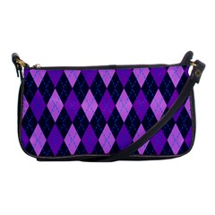Static Argyle Pattern Blue Purple Shoulder Clutch Bags