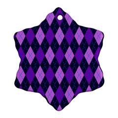 Static Argyle Pattern Blue Purple Snowflake Ornament (Two Sides)