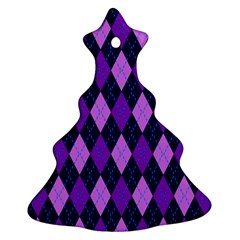 Static Argyle Pattern Blue Purple Christmas Tree Ornament (Two Sides)