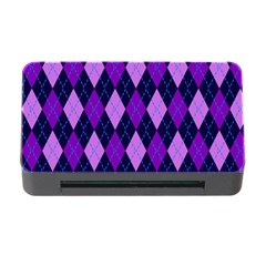 Static Argyle Pattern Blue Purple Memory Card Reader With Cf