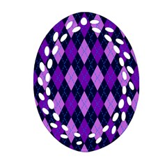 Static Argyle Pattern Blue Purple Oval Filigree Ornament (Two Sides)
