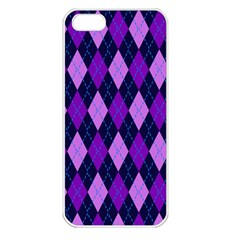 Static Argyle Pattern Blue Purple Apple iPhone 5 Seamless Case (White)
