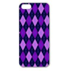 Static Argyle Pattern Blue Purple Apple Seamless Iphone 5 Case (clear)