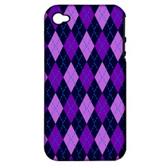 Static Argyle Pattern Blue Purple Apple Iphone 4/4s Hardshell Case (pc+silicone)