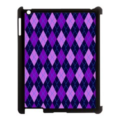 Static Argyle Pattern Blue Purple Apple Ipad 3/4 Case (black)