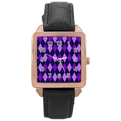 Static Argyle Pattern Blue Purple Rose Gold Leather Watch