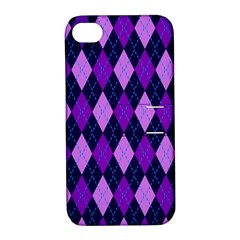 Static Argyle Pattern Blue Purple Apple Iphone 4/4s Hardshell Case With Stand