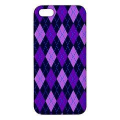 Static Argyle Pattern Blue Purple Apple Iphone 5 Premium Hardshell Case