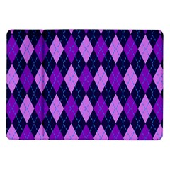 Static Argyle Pattern Blue Purple Samsung Galaxy Tab 10.1  P7500 Flip Case